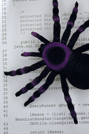 Image of spider on hardcopy of computer code. Indicates bugs or errors or problems with computer programs or software. Stok Fotoğraf