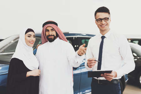Arabs came to a car shop to buy a new car.
