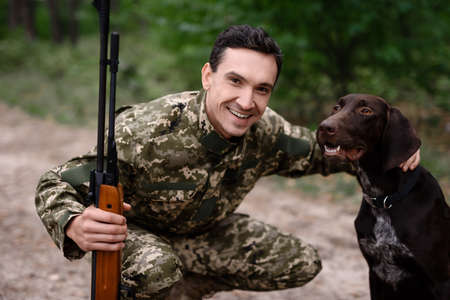 Dog Hunt Concept Good Pointer and Happy Owner.