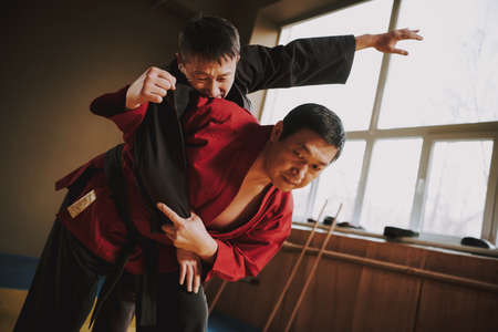 A master in a red kimono throws an opponent. Stockfoto