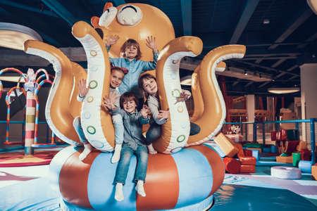 Children have fun in the entertainment center.