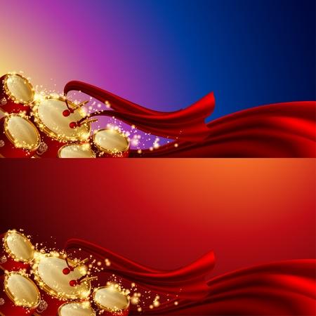 joyous: fondos festivales chinos, cinco tambores y cinta roja