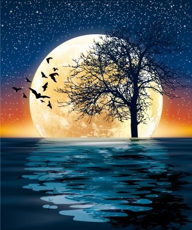 luna enorme y un árbol en el agua