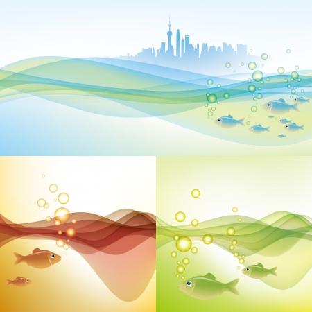 shanghai skyline: water environment of shanghai Illustration