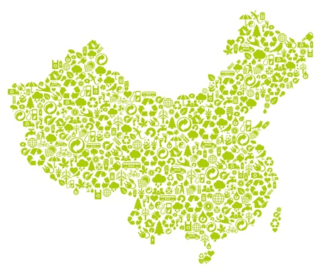 chinese map made of ecology icons