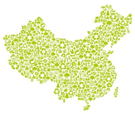 mapa china: mapa chino hecho de iconos de la ecolog�a