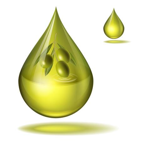aceite de oliva: una gota de aceite de oliva con las aceitunas dentro