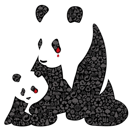 China panda made of ecology icons