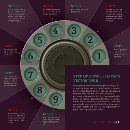 retro infographics design template  steps or options