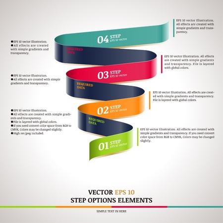 Modern zigzag infographic, steps paper strip template  Illustration