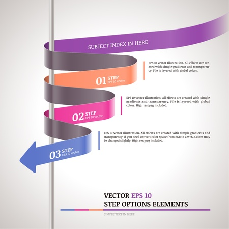 Modern zigzag infographic, steps paper strip template  Illustration