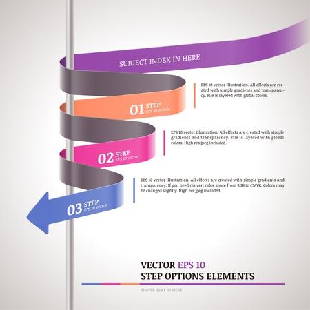 fluss: Moderne Zickzack Infografik, die Schritte Papierstreifen Vorlage