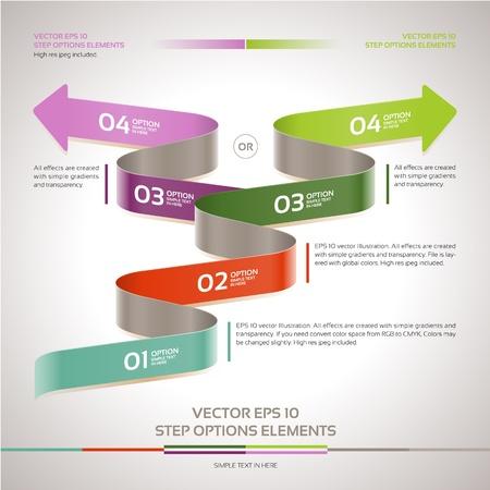 scrip: Modern zigzag infographic, steps paper strip template