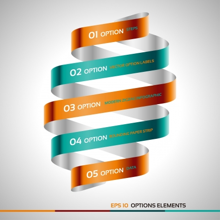 steps: Modern zigzag infographic, steps paper strip template