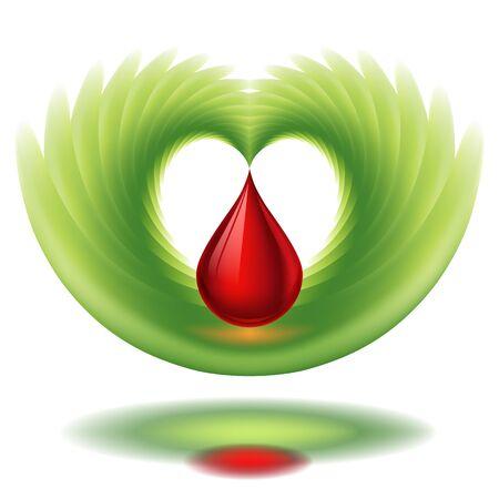 Goutte de sang, en forme de coeur avec des ailes
