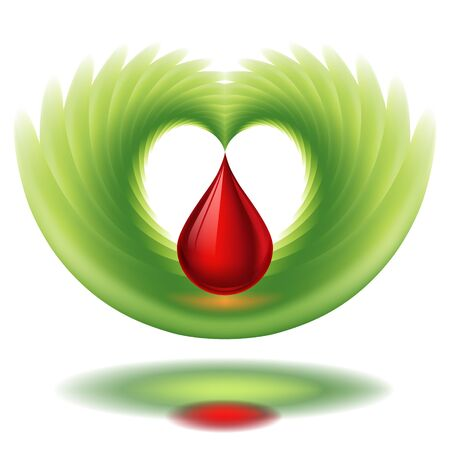 Blood drop, heart-shape with wing
