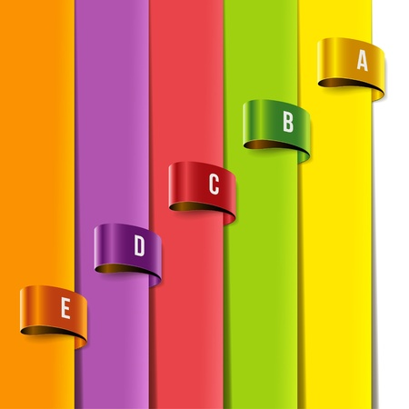 categorized: Set of multicolored tag labels