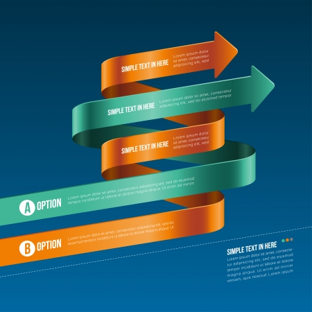 sloping: Steps paper strip template  Vector option infographic