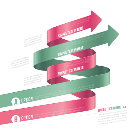 scrip: Steps paper strip template  Vector option infographic
