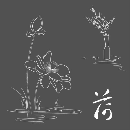 flower in vase: Line drawing of lotus and plum blossom   Vintage elegant style, smooth lines  Vector illustration  File is layered  High res jpeg included