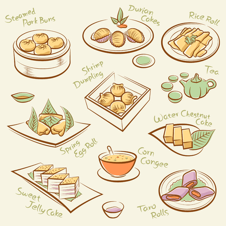 chinese tea: Set of chinese food    Illustration