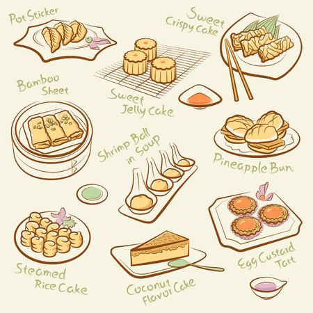 клецка: Набор китайской еды Иллюстрация