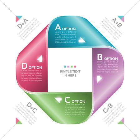 sinergia: Cinta de Moebius de papel Vector opción infografía EPS 10 RGB Todos los efectos se crean con gradientes simples y la transparencia, no del archivo de malla con capas de colores globales