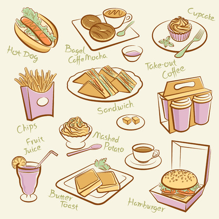 take out food: Set of fast food  Line drawing of morning tea