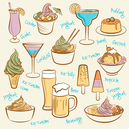 Set of ice cream  Line drawing of drinks