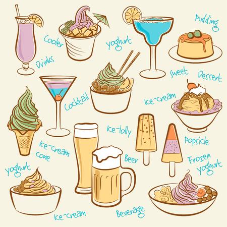 Set of ice cream  Line drawing of drinks