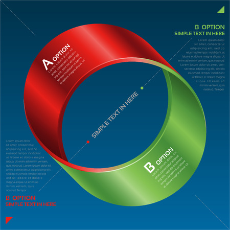 circulate: Mobius strip of paper. Vector option infographic.