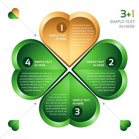 cuatro elementos: Vector infografía. Trébol de cuatro hojas. Vectores