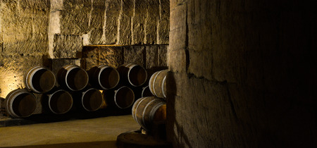 fermenting: Barrels in Wine Cellar-Bordeaux Wineyard