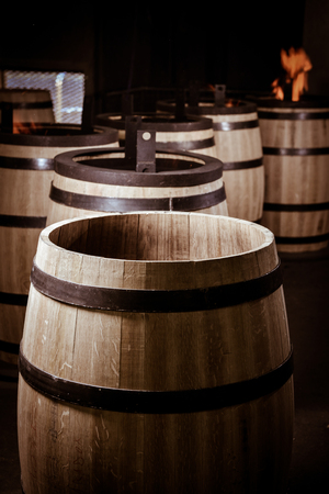 saint emilion: Barrel Making in Bordeaux Wineyard