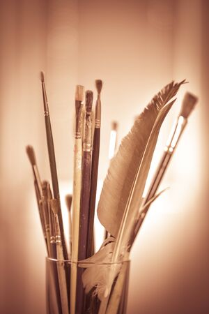 medium group of people: Paint brushes in the pot all kinds of brushes
