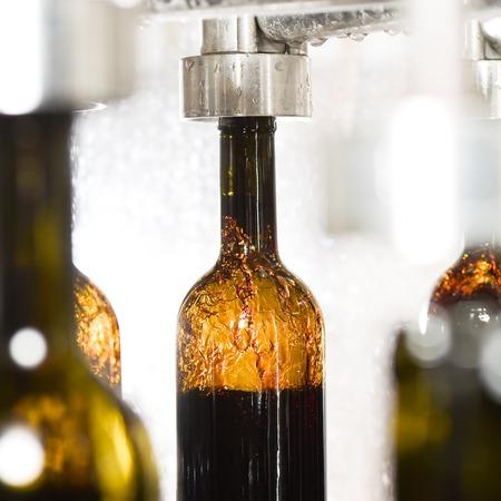 filling line: Wine bottle filling along a conveyor belt in a wine bottling factory