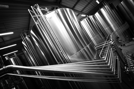 maturation: Stainless steel tank at the winery for wine maturation Stock Photo