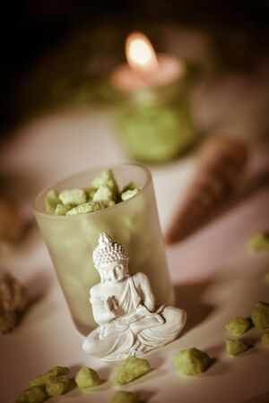 divali: Candles Flame and Boudha Religion Studio shoot Stock Photo