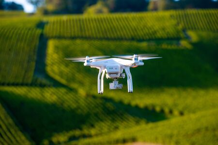 Flying utility drone over wineyard Champagne France