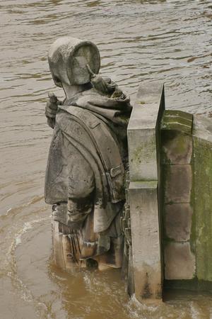 alma: Zouave statue is most famous feature of Pont de Alma, Zouave statue shows how high Seine has risen.