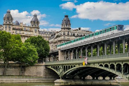 Pont de Bir Hakeim in Paris, France, a bridge for Metro, Europe 写真素材