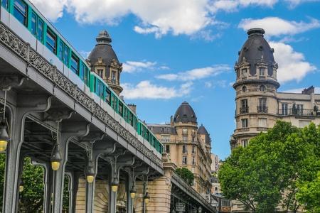 bir: Pont de Bir Hakeim in Paris, France, a bridge for Metro, Europe Stock Photo