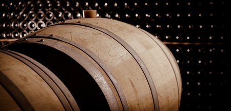 ferment: Underground wine cellar, Wooden barrels, bottles storage, Bordeaux Wineyard