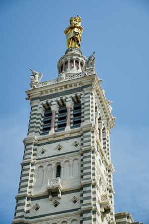 garde: Basilica of Notre Dame de la Garde and old port in Marseille, France, Europe Stock Photo
