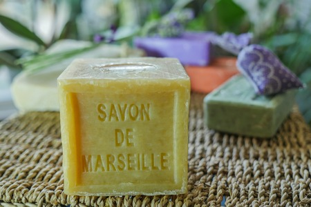 Marseille soap natural Multicolor soaps handmade with organic oil of lavender ond another flowers Stock Photo - 62510719