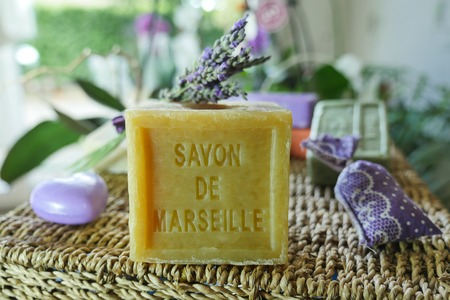 Marseille soap natural Multicolor soaps handmade with organic oil of lavender ond another flowers Stock Photo - 62510721