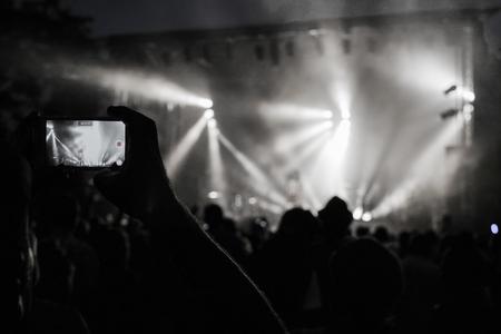 pop idol: Rock concert. Light show,Public, France, Europe