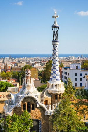 Park Guell by architect Antoni Gaudi in Barcelona, Spain Stock Photo