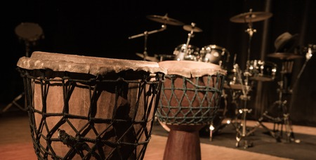 djembe drum: Traditional wooden african djembe drum on stage, France