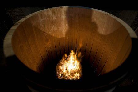 cooper: Toasting an Oak Barrel, Medoc ,Aquitaine, France